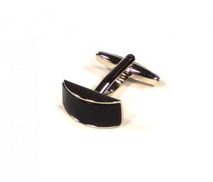 Black Rectangle Curve Cufflinks (Premium High Quality Business / Wedding Accessories by Focus Ties)