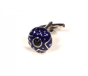 Blue Round Shield Cufflinks (Premium High Quality Business / Wedding Accessories by Focus Ties)