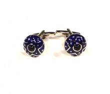 Load image into Gallery viewer, Blue Round Shield Cufflinks