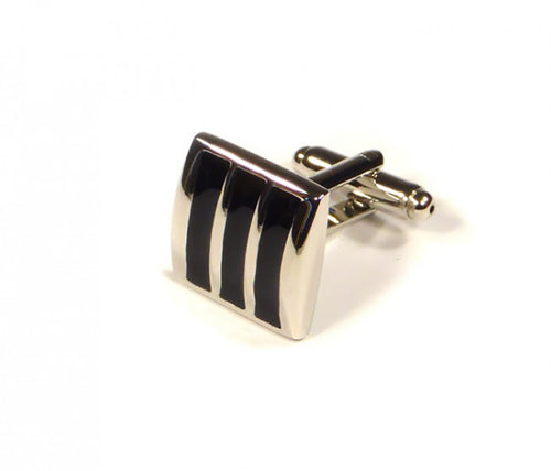 Black Striped Cufflinks (Premium High Quality Business / Wedding Accessories by Focus Ties)