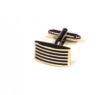 Load image into Gallery viewer, Black Thin Stripe Cufflinks (Premium High Quality Business / Wedding Accessories by Focus Ties)