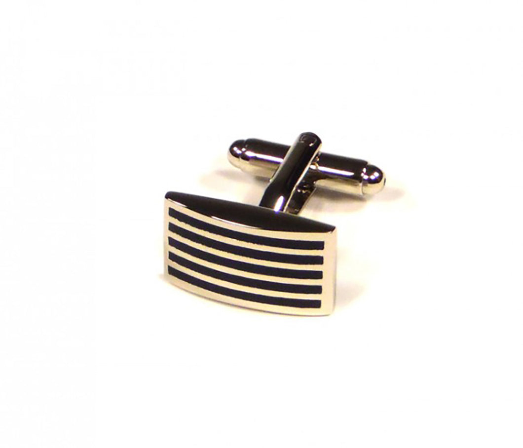 Black Thin Stripe Cufflinks (Premium High Quality Business / Wedding Accessories by Focus Ties)