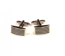 Load image into Gallery viewer, Black Thin Stripe Cufflinks