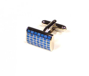 Blue Grid Cufflinks (Premium High Quality Business / Wedding Accessories by Focus Ties)
