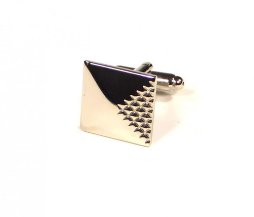 Silver Quarter Raised Pattern Cufflinks (Premium High Quality Business / Wedding Accessories by Focus Ties)
