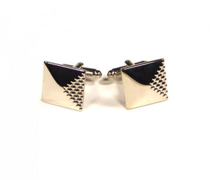 Silver Quarter Raised Pattern Cufflinks