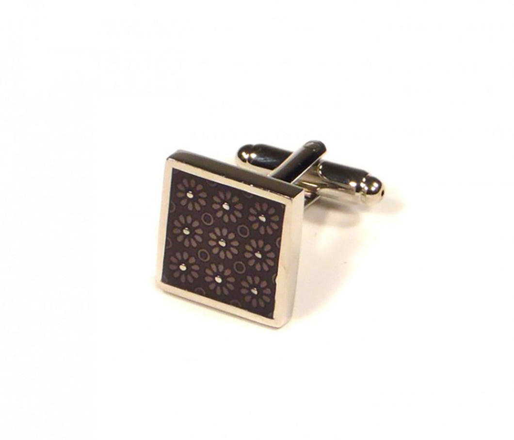Purple Square Flower Pattern Cufflinks (Premium High Quality Business / Wedding Accessories by Focus Ties)