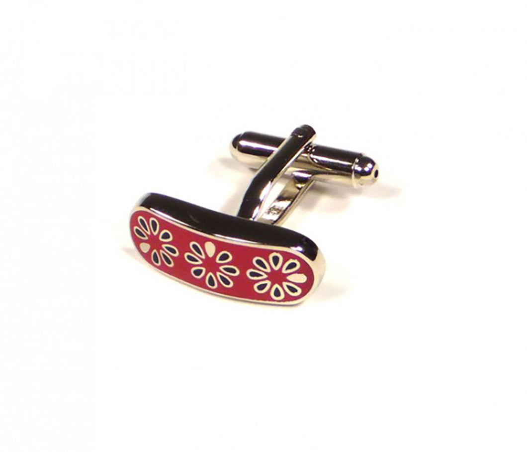 Red Flower Pattern Cufflinks (Premium High Quality Business / Wedding Accessories by Focus Ties)