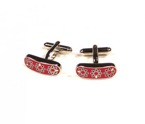 Red Flower Pattern Cufflinks
