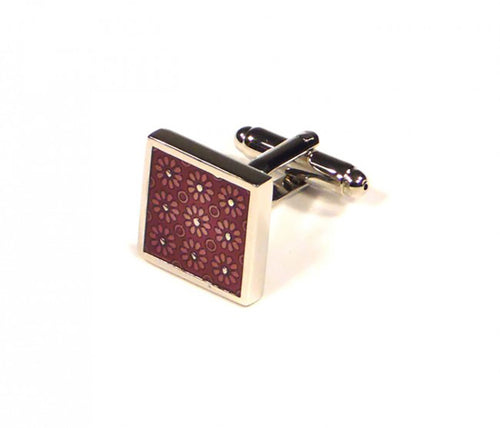Red Square Flower Pattern Cufflinks (Premium High Quality Business / Wedding Accessories by Focus Ties)