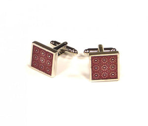Red Square Flower Pattern Cufflinks