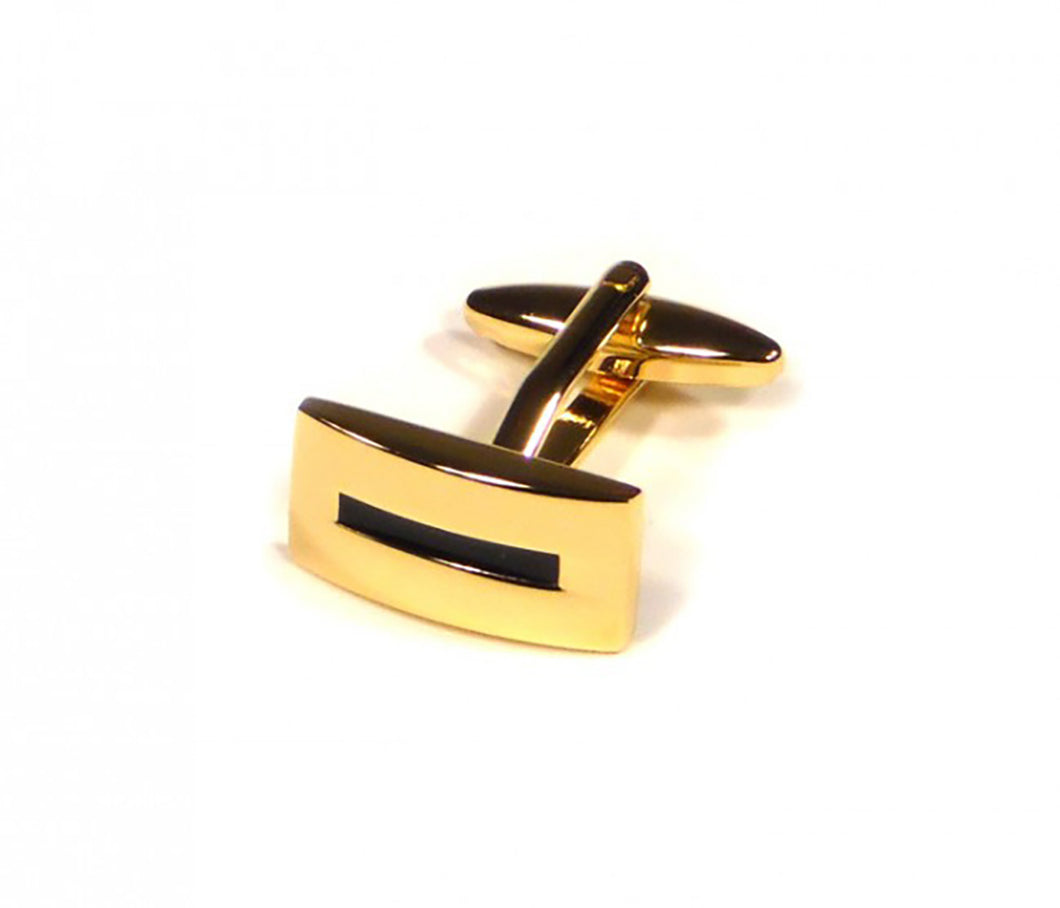 Gold Black Stripe Cufflinks (Premium High Quality Business / Wedding Accessories by Focus Ties)