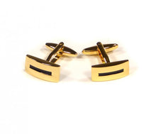 Load image into Gallery viewer, Gold Black Stripe Cufflinks