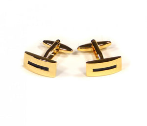 Gold Black Stripe Cufflinks