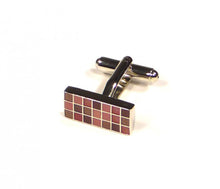 Load image into Gallery viewer, Red Purple Rectangle Grid Cufflinks (Premium High Quality Business / Wedding Accessories by Focus Ties)