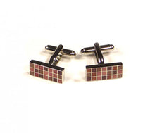 Load image into Gallery viewer, Red Purple Rectangle Grid Cufflinks