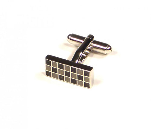 Black Grey Grid Rectangle Cufflinks (Premium High Quality Business / Wedding Accessories by Focus Ties)