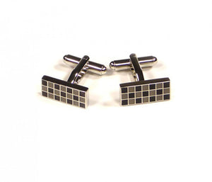 Black Grey Grid Rectangle Cufflinks
