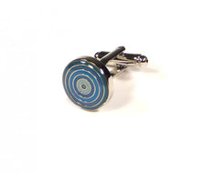 Load image into Gallery viewer, Blue Round Targets Cufflinks (Premium High Quality Business / Wedding Accessories by Focus Ties)