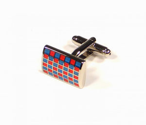 Blue Red Grid Cufflinks (Premium High Quality Business / Wedding Accessories by Focus Ties)