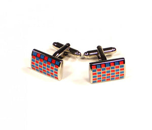 Blue Red Grid Cufflinks