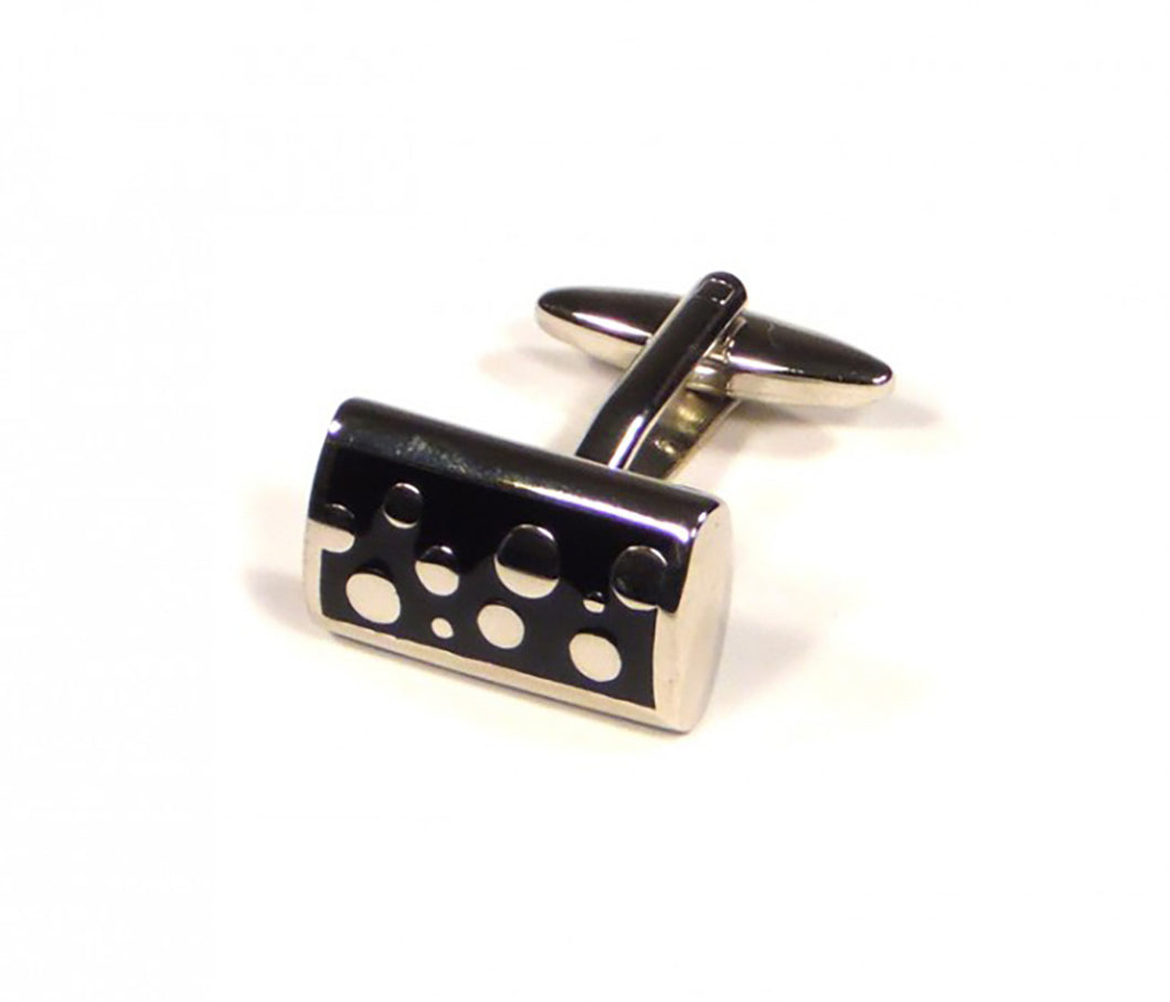 Black Rectangle Bubble Pattern Cufflinks (Premium High Quality Business / Wedding Accessories by Focus Ties)