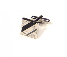 Load image into Gallery viewer, Black Grey Diagonal Cufflinks (Premium High Quality Business / Wedding Accessories by Focus Ties)