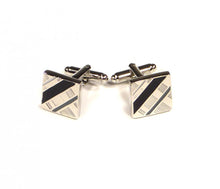 Load image into Gallery viewer, Black Grey Diagonal Cufflinks