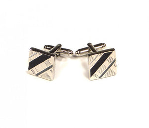 Black Grey Diagonal Cufflinks