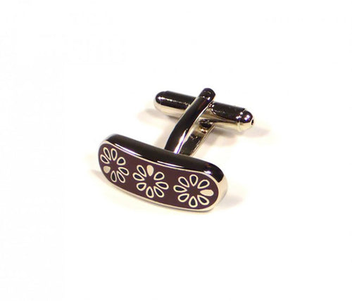 Maroon Flower Pattern Cufflinks (Premium High Quality Business / Wedding Accessories by Focus Ties)