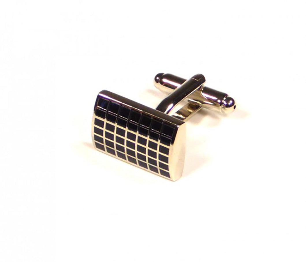 Black Grid Pattern Cufflinks (Premium High Quality Business / Wedding Accessories by Focus Ties)