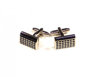 Black Grid Pattern Cufflinks