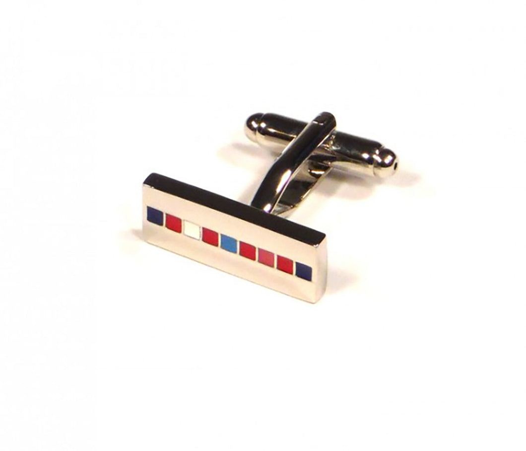 Rainbow Stripe Rectangle Cufflinks (Premium High Quality Business / Wedding Accessories by Focus Ties)