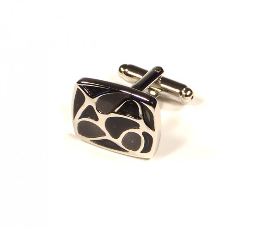 Black Pattern Cufflinks (Premium High Quality Business / Wedding Accessories by Focus Ties)