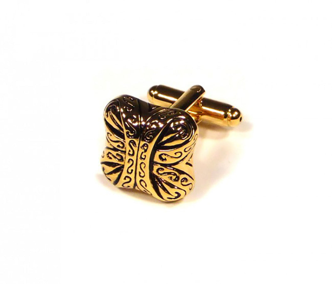 Gold Pattern Cufflinks (Premium High Quality Business / Wedding Accessories by Focus Ties)