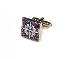 Load image into Gallery viewer, Blue Red White Pattern Cufflinks (Premium High Quality Business / Wedding Accessories by Focus Ties)