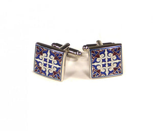 Blue Red White Pattern Cufflinks