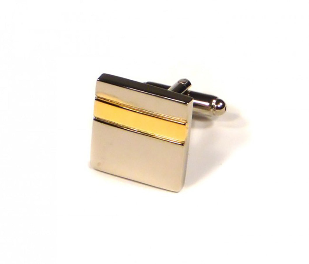 Gold Stripe Cufflinks (Premium High Quality Business / Wedding Accessories by Focus Ties)