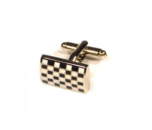 Black White Grid Cufflinks (Premium High Quality Business / Wedding Accessories by Focus Ties)