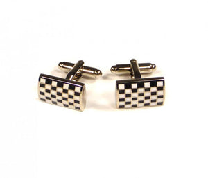 Black White Grid Cufflinks