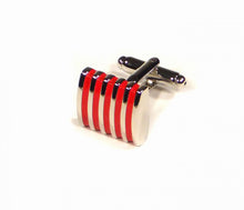 Load image into Gallery viewer, Red Thin Stripes Cufflinks (Premium High Quality Business / Wedding Accessories by Focus Ties)