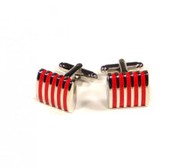 Load image into Gallery viewer, Red Thin Stripes Cufflinks