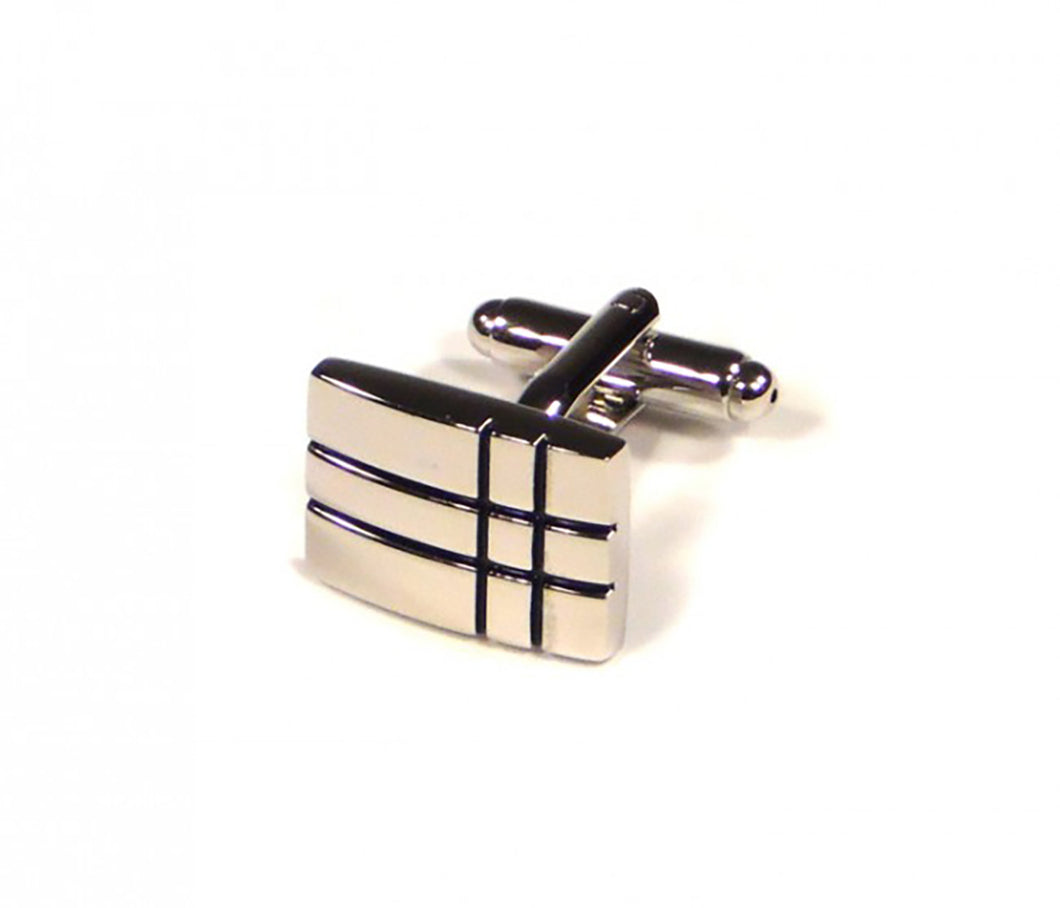 Black Two Stripe Crossover Cufflinks (Premium High Quality Business / Wedding Accessories by Focus Ties)