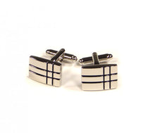 Load image into Gallery viewer, Black Two Stripe Crossover Cufflinks