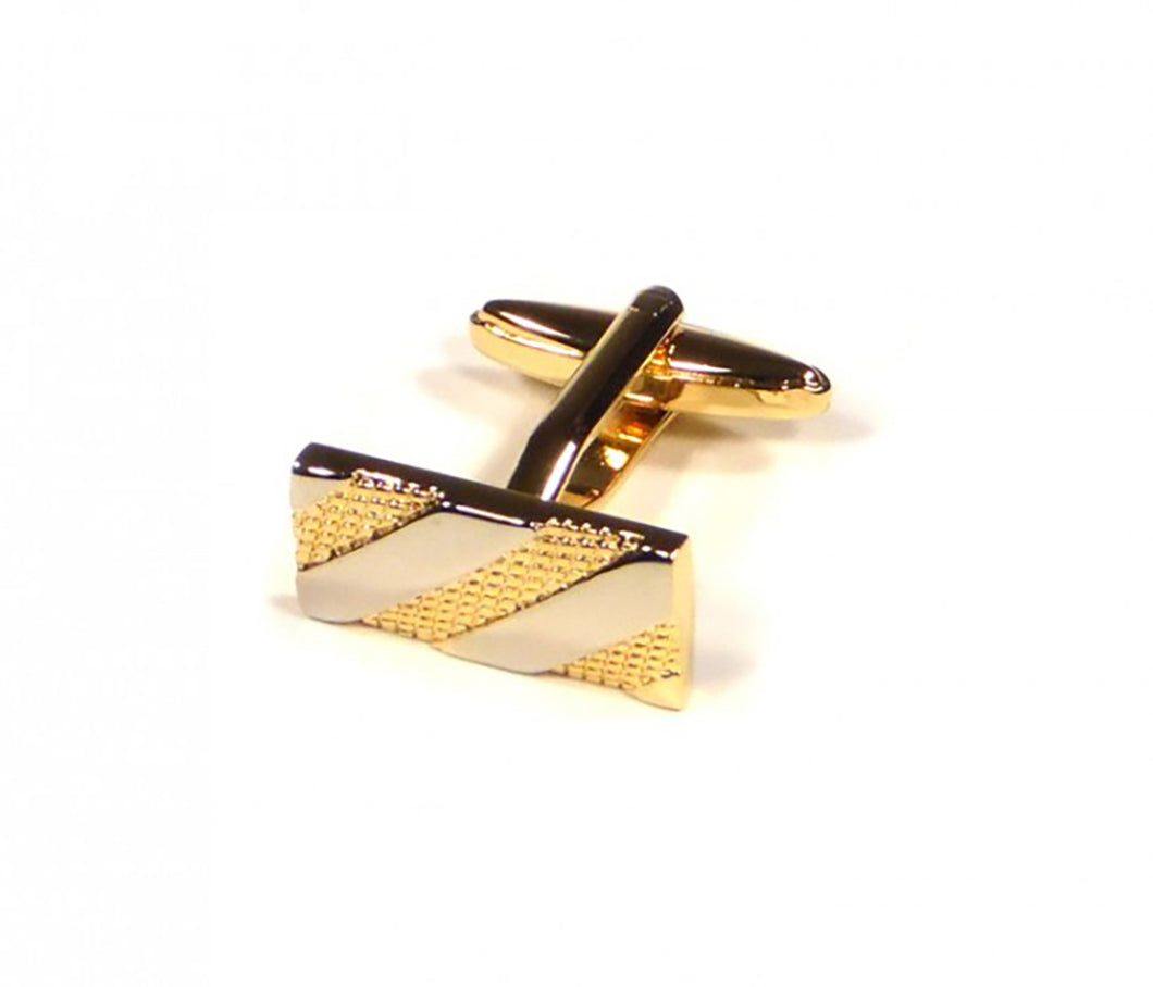 Gold Silver Rectangle Cufflinks (Premium High Quality Business / Wedding Accessories by Focus Ties)