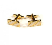 Load image into Gallery viewer, Gold Silver Rectangle Cufflinks