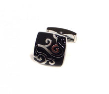 Load image into Gallery viewer, Black Swirl Pattern Cufflinks (Premium High Quality Business / Wedding Accessories by Focus Ties)