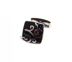 Black Swirl Pattern Cufflinks (Premium High Quality Business / Wedding Accessories by Focus Ties)