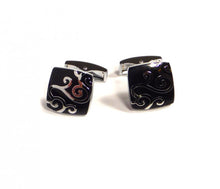 Load image into Gallery viewer, Black Swirl Pattern Cufflinks