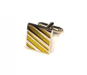 Yellow Diagonal Stripe Cufflinks (Premium High Quality Business / Wedding Accessories by Focus Ties)